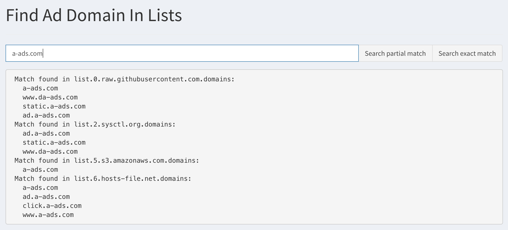 Query ad lists